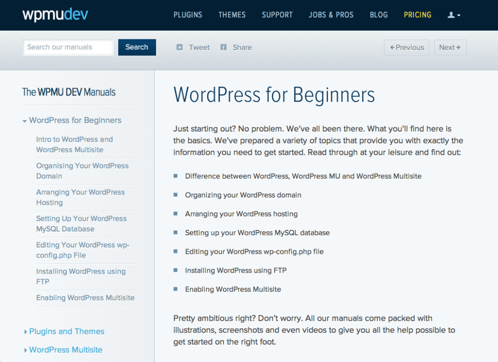 The WPMUDEV Manuals: WordPress for Beginners