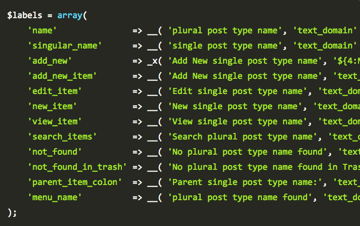 Function For Post Type Labels