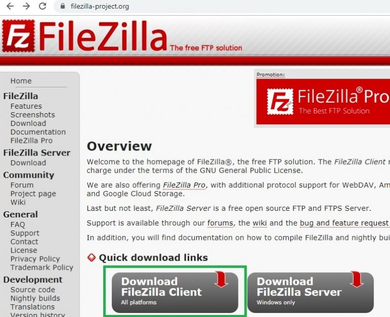 Button to Download FileZilla Client