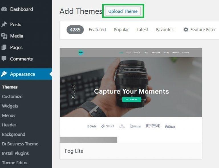 Wordpress Upload Theme Button