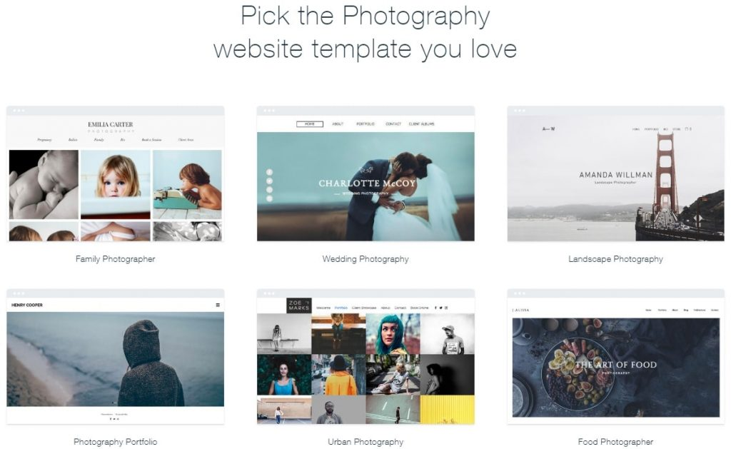 Wix sample photography templates
