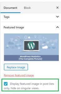 option to hide single image in wordpress