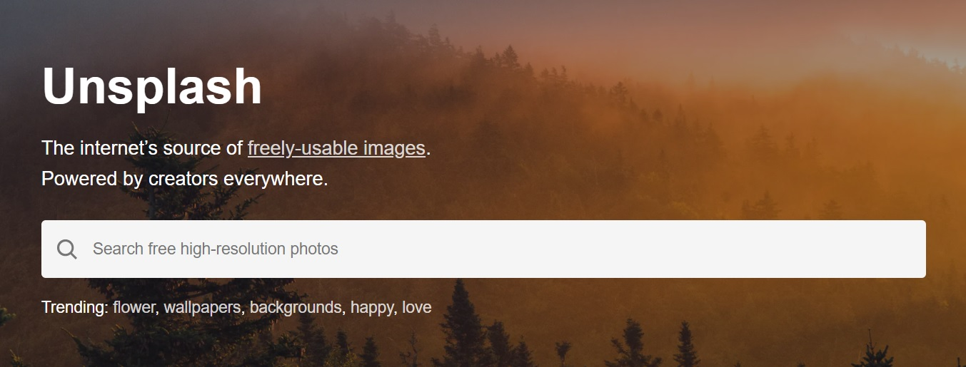 Unsplash main page screenshot